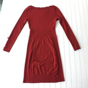 Cache Dresses - Cache Red Ribbed Stretch Knit Sexy Dress Career